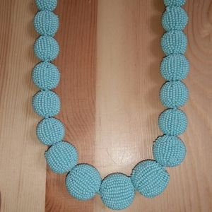 J. Crew Turquoise Beaded Ball Statement Necklace